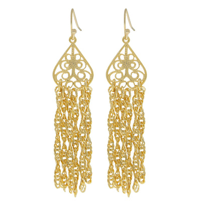 14 Gold Dipped Filigree Drop Tassel Earring