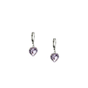1928 Jewelry Silver Genuine Swarovski Crystal Heart Drop Earrings