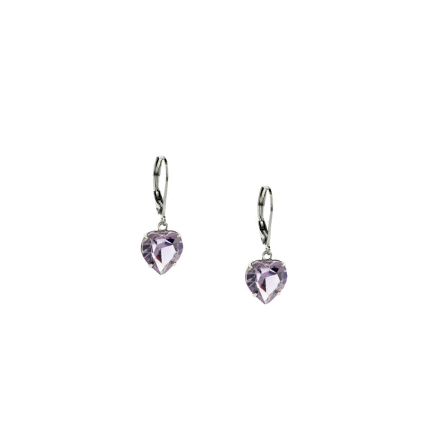 Silver Genuine Swarovski Crystal Heart Drop Earrings Light Purple