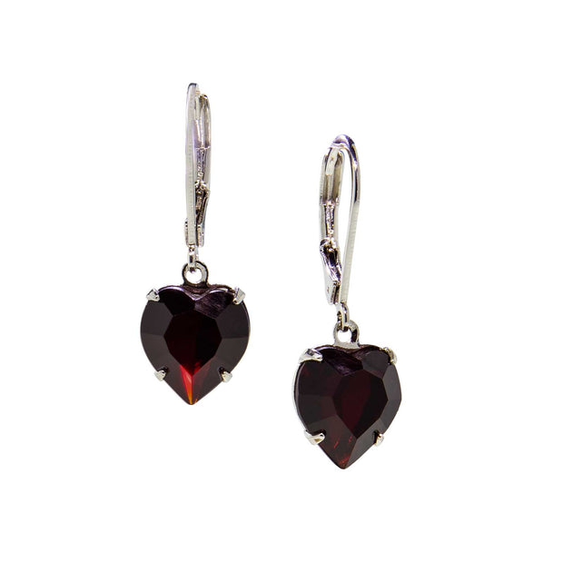 Silver Genuine Swarovski Crystal Heart Drop Earrings Dark Red
