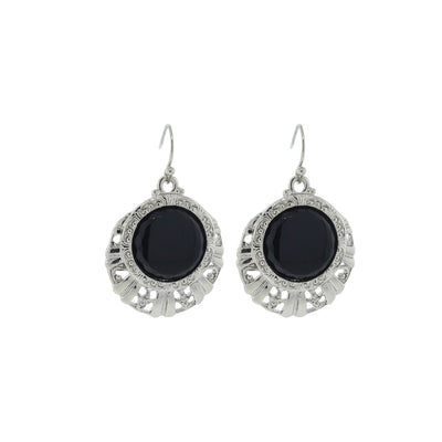 Silver Tone Black Round Textured Drop Earrings