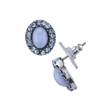 Pewter Tone Lt. Blue Moonstone and Crystal Oval Post Button Earrings