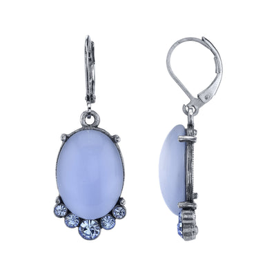 Pewter Tone Lt. Blue Moonstone and Crystal Accent Oval Drop Earrings