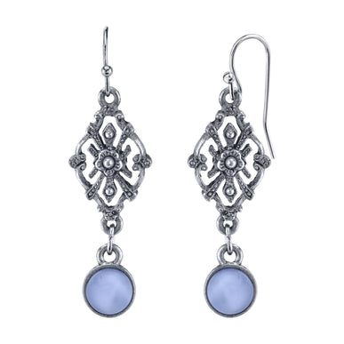 Pewter Tone Lt. Blue Moonstone Filigree Drop Earrings