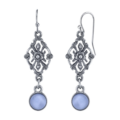 Pewter Tone Light Blue Moonstone Filigree Drop Earrings