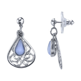 Silver Tone Filigree Teardrop with Lt. Blue Moonstone Overlay Drop Earrings