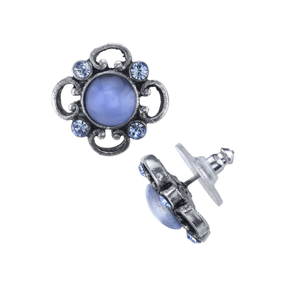 Pewter Tone Lt. Blue Moonstone and Crystal Accent Post Button Earrings