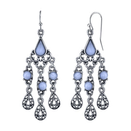 Pewter Tone Lt. Blue Moonstone Filigree Teardrop Chandelier Earrings