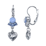 Silver Tone Lt. Blue Moonstone And Crystal Heart Leverback Drop Earrings