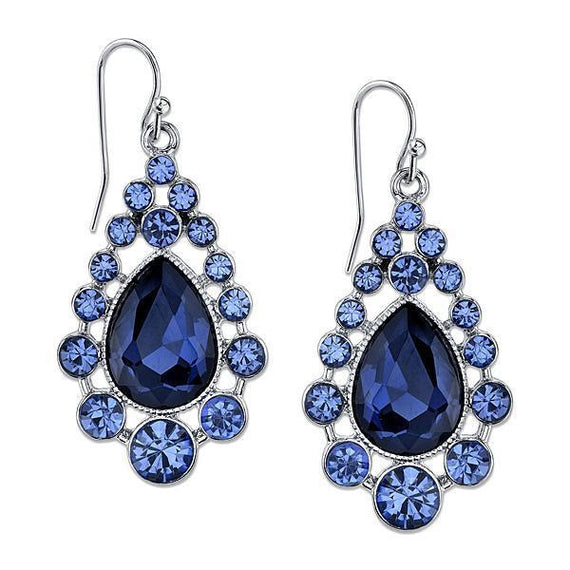 Silver Tone Blue Caged Teardrop Earrings