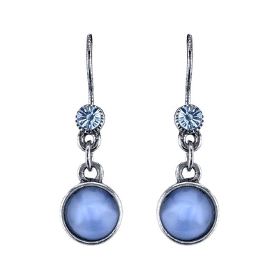 Pewter Tone Lt. Blue Moonstone Drop Earrings