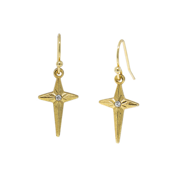 14K Gold Dipped Crystal Accent Cross Starburst Drop Earrings