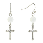 Silver Tone Costume Mother Of Pearl Bead And Crystal Accent Cross Drop Earrings