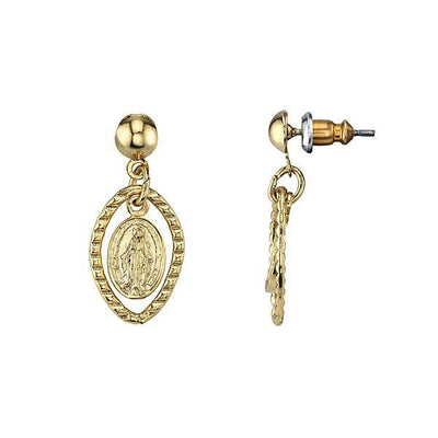 14K Gold Dipped Mother Mary Medallion Post Drop Earrings