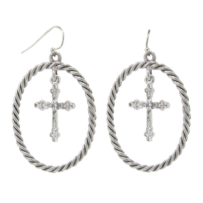 Silver Tone With Crystal Accent Suspended Cross Drop Hoop Earrings