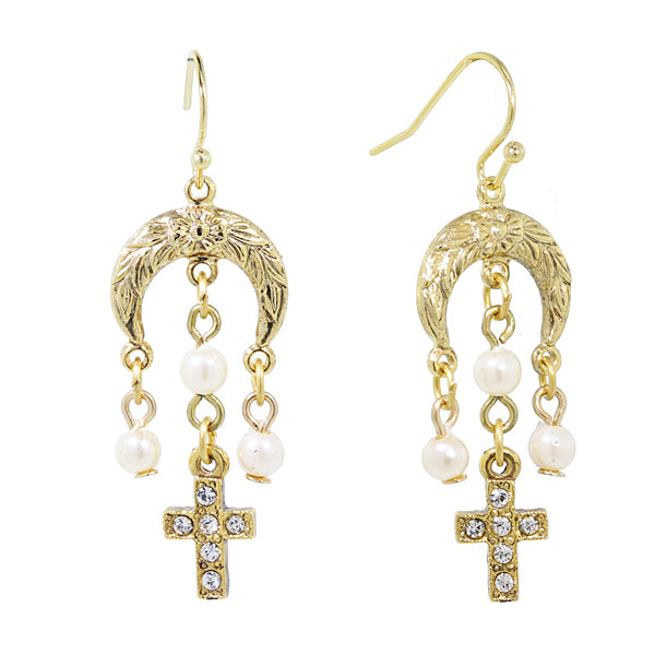 14K Gold Dipped Costume Pearl And Crystal Cross Drop Earrings