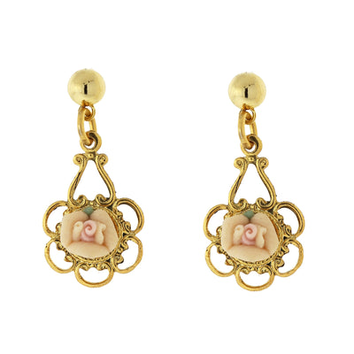 Gold-Tone Porcelain Rose Drop Earrings