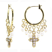 14K Gold Dipped Costume Pearl And Crystal Cross Hoop Drop Earrings