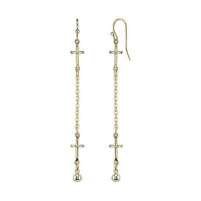 14K Gold Dipped Cross Chain Linear Drop Earrings