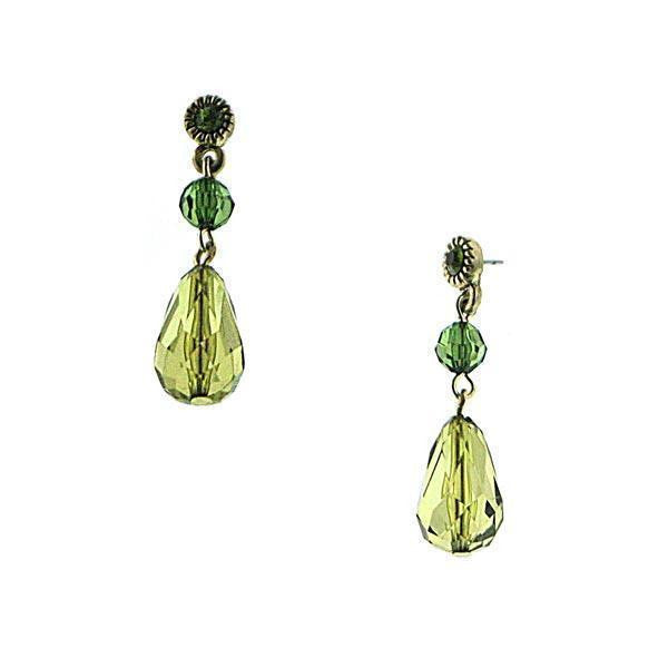 Brass Olivine Drop Earrings