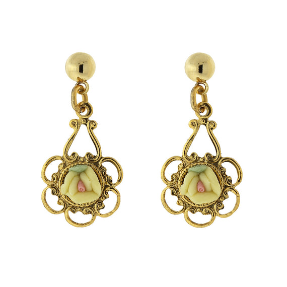 Fashion Jewelry - Gold Tone Yellow with Pink Center Porcelain Rose Drop Earrings