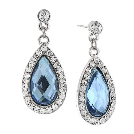 Silver-Tone Lt. Blue and Crystal Teardrop Earrings