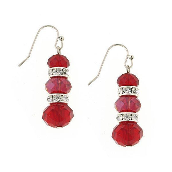Silver Tone Red Triple Drop Earrings