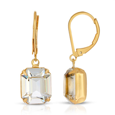 Gold Tone Octagon Drop Earrings Made With Swarovski Crystals
