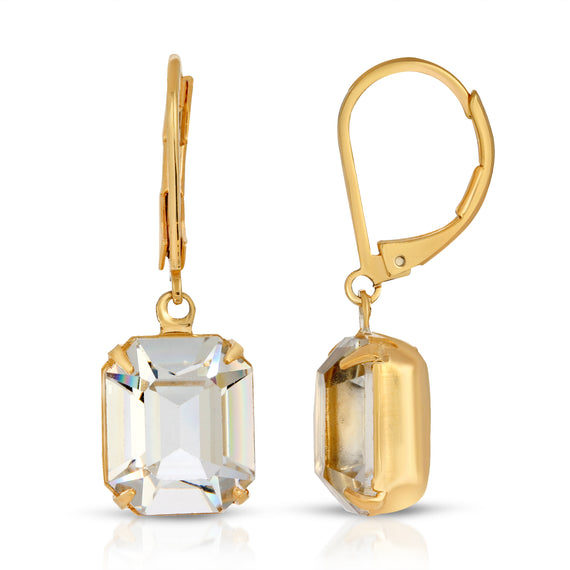 1928 Jewelry Gold-Tone Octagon Drop Earrings Made with Swarovski Crystals