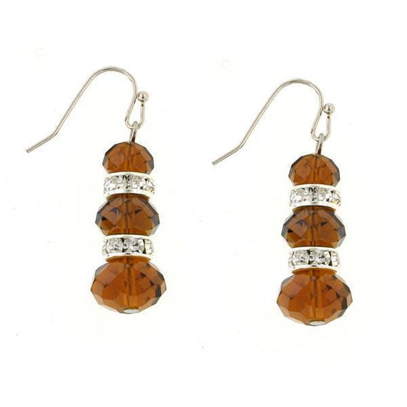Silver Tone Brown and Crystal Triple Drop Earrings