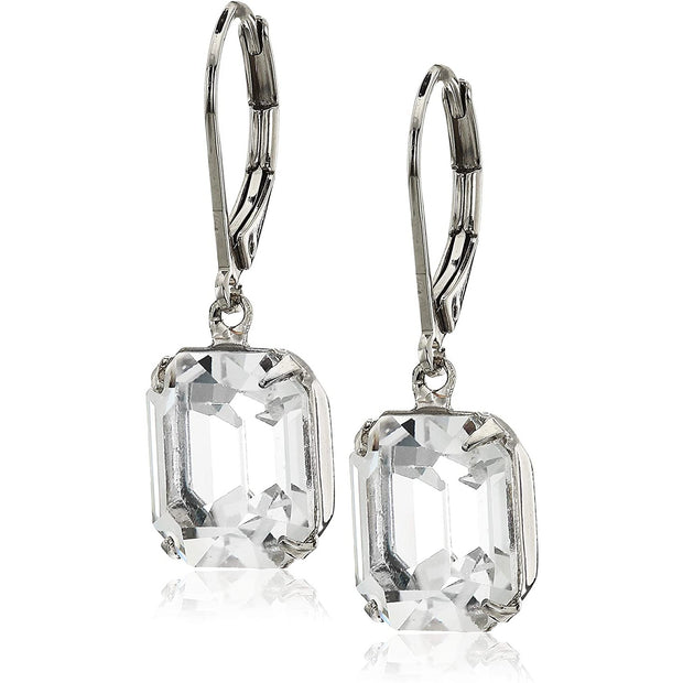 Octagon Swarovski Crystal Element Drop Earrings