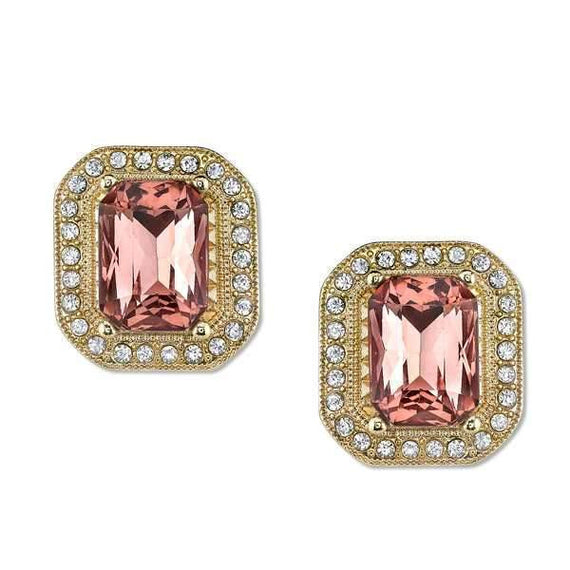 Gold-Tone Pink w/ Crystal Octagon Button Earrings