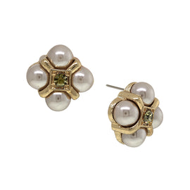 Gold-Tone Grey Simulated Pearl w/ Black Diamond Accent Button Earrings
