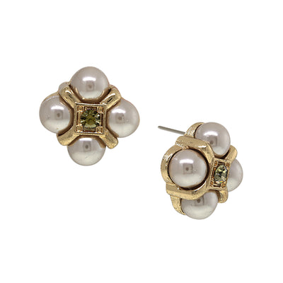 Gold Tone Grey Costume Pearl W/ Black Diamond Accent Button Earrings