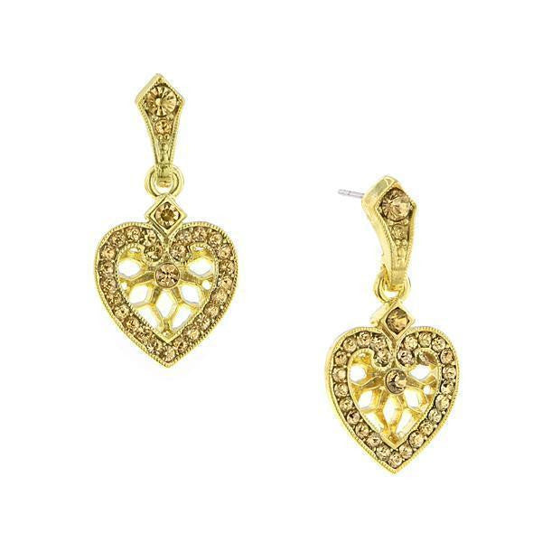 Gold Tone Lt. Brown Heart Drop Earrings