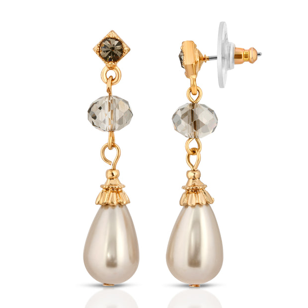 Gold Tone Grey Costume Pearl With Black Diamond Drop Earrings
