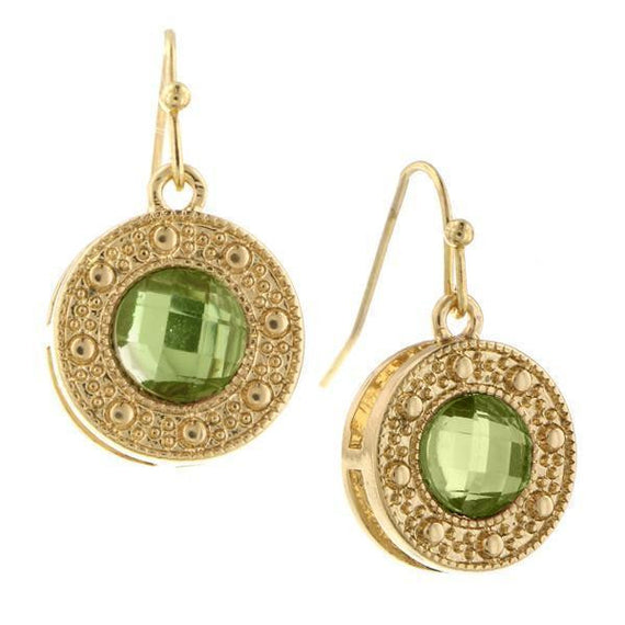 Gold-Tone Green Round Drop Earrings