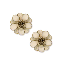 Gold-Tone White Enamel Flower Earrings
