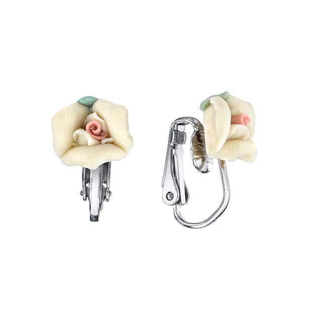 Silver-Tone Porcelain Rose Clip-on Earrings