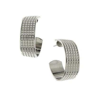 Silver-Tone Studded Hoop Earrings