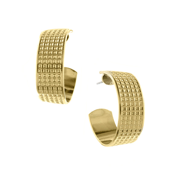 Fashion Jewelry - Gold Tone Square Textured Hoop Earrings