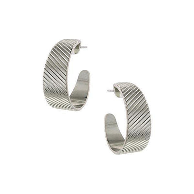 Silver-Tone Diagonal Patterned Hoop Earrings