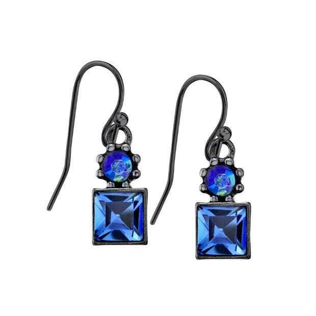 1928 Jewelry Black-Tone Light Blue AB Crystal Drop Earrings