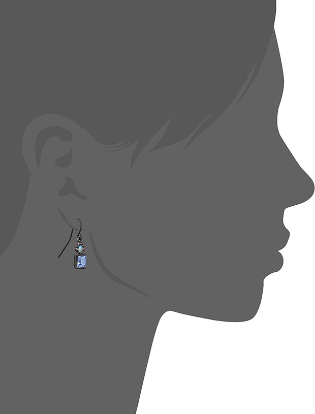 Black-Tone Light Blue AB Crystal Drop Earrings Silhouette