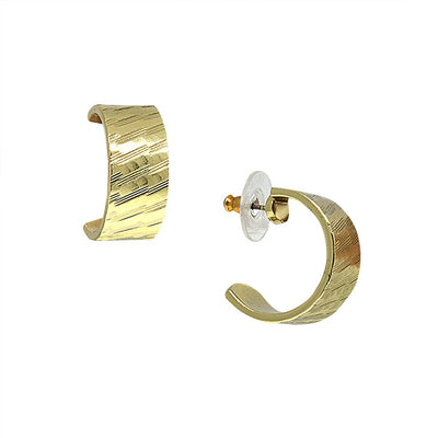 Gold Tone Diagonal Patterned Hoop Earrings