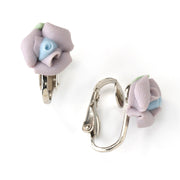 Silver Tone Porcelain Rose Clip On Earrings Purple