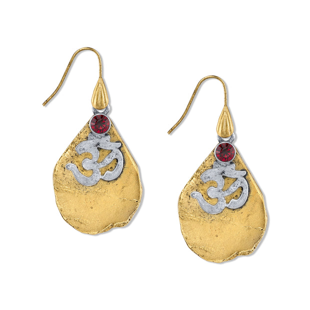 T.R.U. 14K Gold-Dipped Earrings with Ohm Symbol and Siam Red Swarovski Crystals
