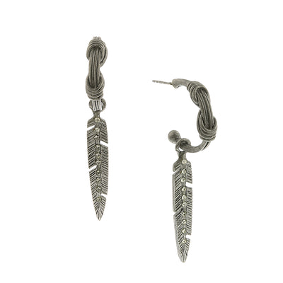 Pewter Tone Organic Hoop Earrings And Feather Adorned With Swarovski Crystals