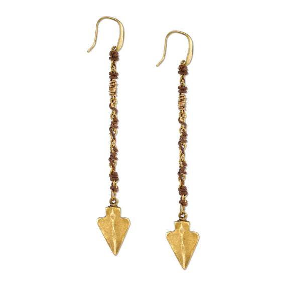 14K Gold-Dipped Wrapped Linear Arrowhead Earrings with Swarovski Crystals