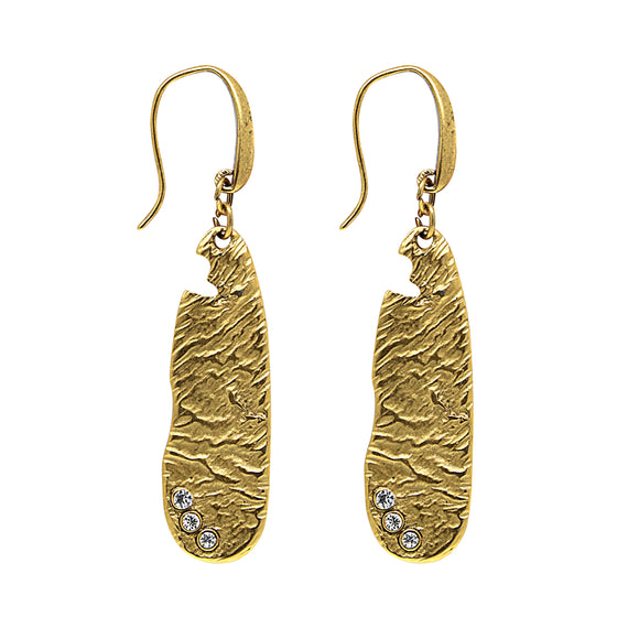 14K Gold Dipped Sculptured Drop Earrings Embellished with Swarovski Crystals